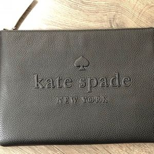 Kate Spade Gia Large Black Leather Clutch Pouch